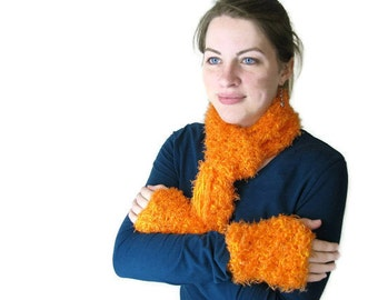 Handmade Crochet Neon Orange Scarf and Mitts Set for Her