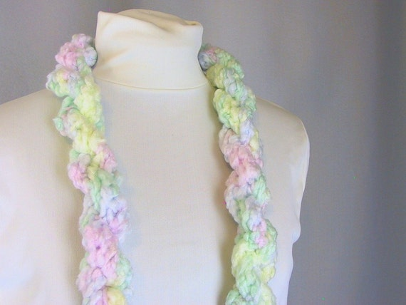 Skinny Scarf - Twisted Rope - Pale Pastel Fairy Kei Colors