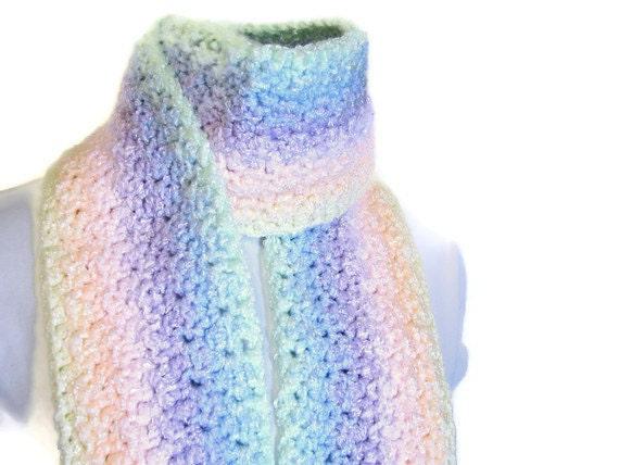 Fringed Handmade Scarf - Fairy Kei Pastel Rainbow