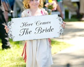 Here Comes The BRIDE signs Wedding signs Decorations DOUBLE Sided Flower Girl Ring Bearer 10x24