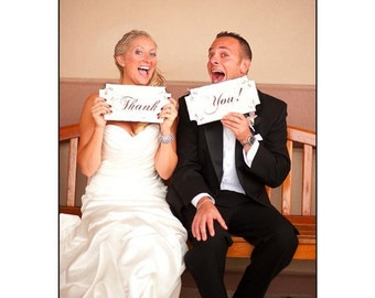 Thank You, MR. and MRS., Wedding signs - set of 2 12x6 - REVERSIBLE Wedding Chair Signs!