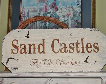 "BEACH Decor - SAND CASTLES - Cottage sign 24""x10"" - Nautical Decor"