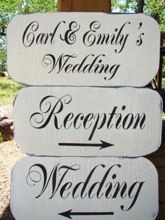 Wedding Signs Decor Cottage CUSTOM Vintage Style Arrows