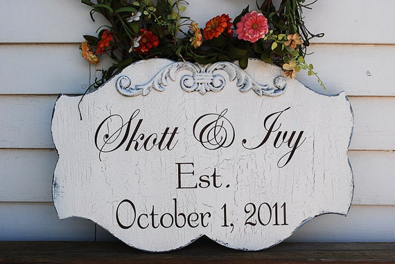 Bride and Groom Custom Wedding Signs Wedding Decorations Cottage Vintage style 21x13
