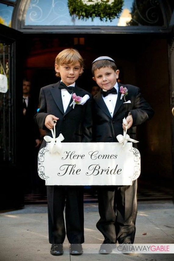 HERE Comes The BRIDE Wedding Signs Cottage Signs Wedding Decoration Flower girl Photo Props 10X24