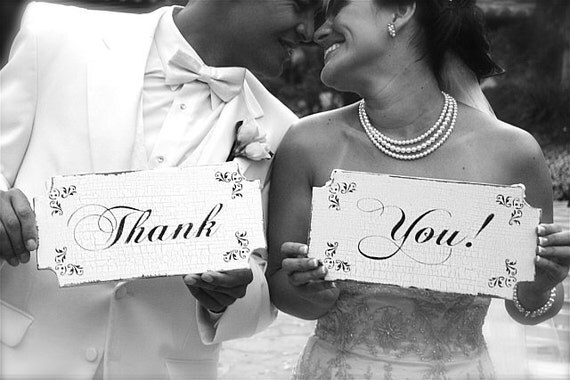 THANK YOU Wedding Signs Wedding Decorations Photo Props Vintage Style 12x6 Set of 2
