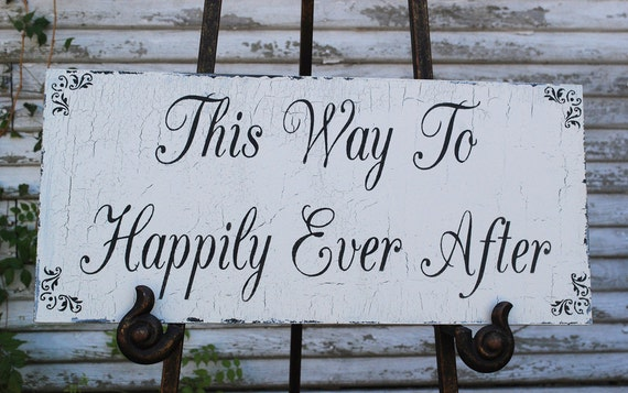 Happily Ever After Wedding Signs Decoration Vintage Cottage 20X9