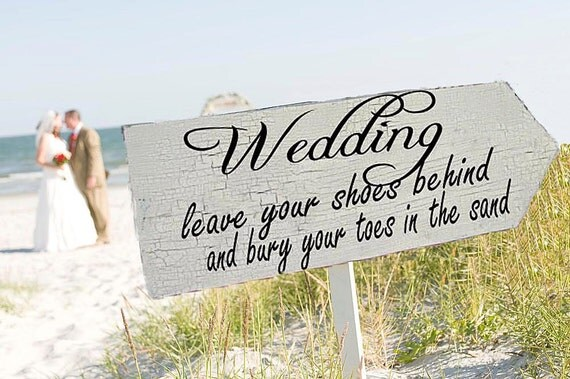 Beach Wedding Signs Wedding Decorations FREE stake 24x8