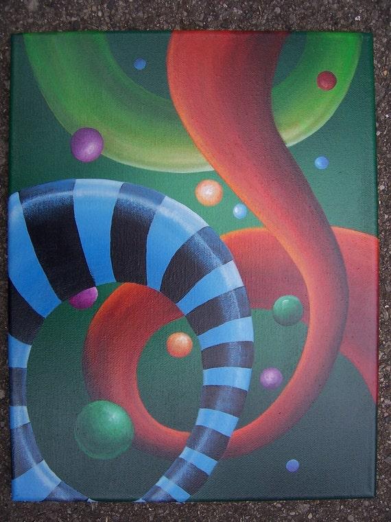 Original Swirls and Stripes Acrylic Painting