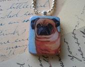 Pug on Blue wooden tile pendant