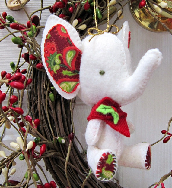 Christmas Tree Ornament Elephant Ornament Hand Sewn All Wool White Elephant