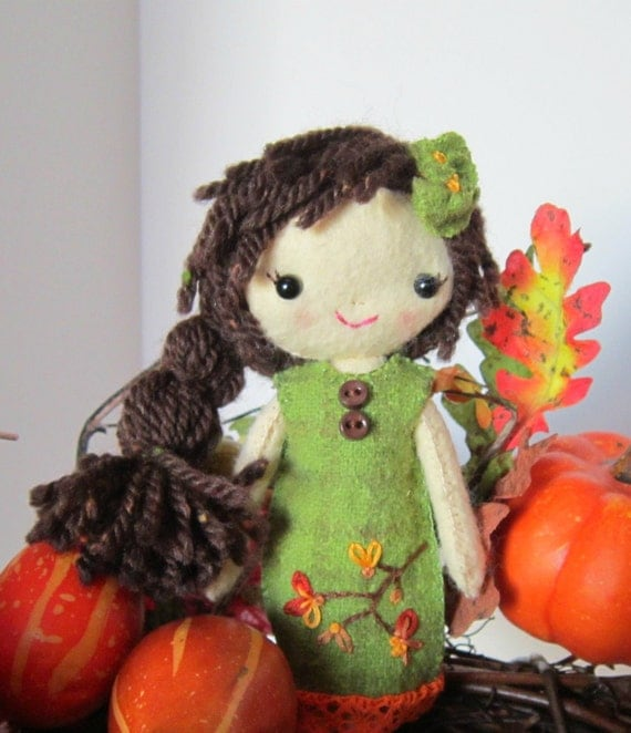 Cloth Doll Handmade All Natural Wool Autumn Colors Brunette DELAYED SHIPPING