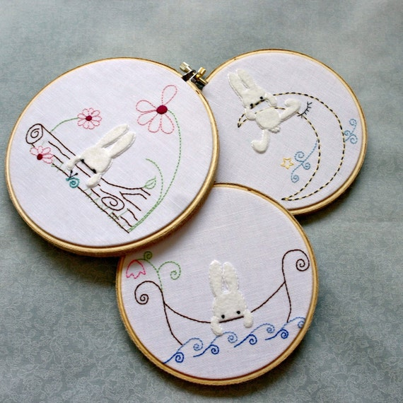 Nursery Decor Hand Embroidery Hoop Art Woodland Bunny Rabbit Baby Room Wall Hanging Set of 3 Baby Shower Gift