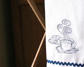 Coffee Break - Embroidered Cotton Kitchen Towel - Blue