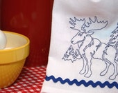 MAINEly Moose - Embroidered Cotton Kitchen Towel - Blue