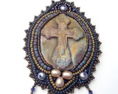 Raku Christian Cross Bead Embroidery Pendant Necklace