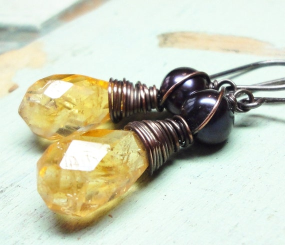 Citrine Earrings Blue Pearl Earrings Rustic Antiqued Silver, Copper Wire Wrapped Yellow Gemstone Earrings Fall Fashion Yellow Earrings