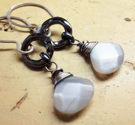 Gray Moonstone Earrings Faceted Briolettes Gray Gemstone Earrings Gunmetal Sterling Silver Fall Fashion