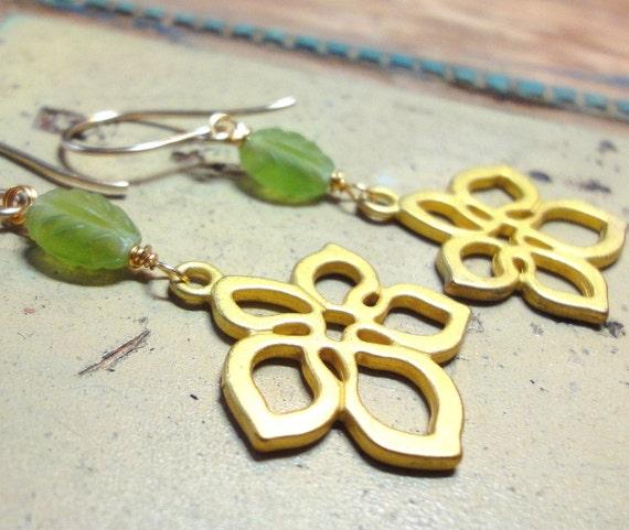 Bright Green Earrings Glass Bead Gold Flower Earrings Bold Spring Fashion Jewelry Summer Floral Earrings