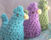Lil' Hens Crochet Egg Cozy - Set of 3 Easter Egg Cozies - Vintage Inspired Cosies Aqua Blue Lilac Violet Purple Lime Green Easter Decor