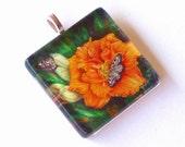 Orange Daylily and Butterfly Jewelry Glass Pendant Alaskan Sunset
