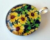 Sunflower Jewelry Pendant Kaleidoscope Round Art Glass Kansas State Flower