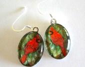 Cardinal Bird Jewelry Earrings Cardinal Red School Mascot Art Glass