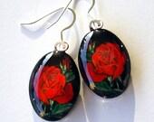 Rose Jewelry earrings Red Rose Oval Art Glass
