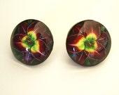 Daylily Earrings Dark Purple Lime Art Button Earrings Dark Prince Daylily Colored Pencil Art