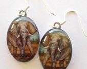 Elephant Jewelry Earrings Oval Art Glass African Elephant Colored Pencil Art by AllKindsofArt Glenda Mullins