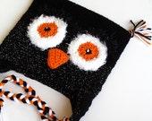 Crochet Owl Hat Sparkle Black Orange White