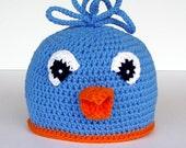 Crochet Blue Bird Hat Orange Beak Child Size