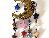 Vintage Jewelry Pin Brooch Moon and Stone Stars