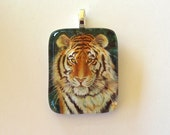 Tiger Cat Jewelry Golden Eyes Glass Art Pendant Colored Pencil Art