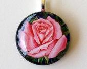 Rose Jewelry Pink  Rose Round Art Pendant
