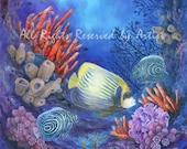 Saltwater Fish Art Aquarium Ocean Emperor Angelfish Coral Framed Canvas Giclee Painting