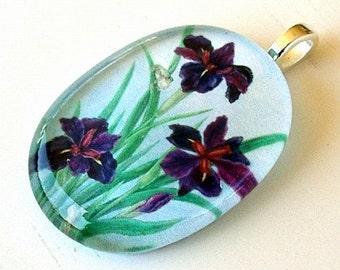 Louisiana Iris and Frog Jewelry Oval Glass Art Pendant Dark Purple Iris