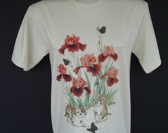 Kittens Butterflies Iris Flower T-shirt  Size Medium on Natural Background Iris Tee Shirt