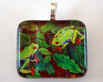 Frog Jewelry Pendant Red Eye Tree Frogs Art Glass
