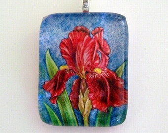 Iris Jewelry Pendant Flower Art Glass Dark Red Maroon