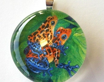 Frog Jewelry Strawberry Poison Dart Frogs Art Glass Pendant