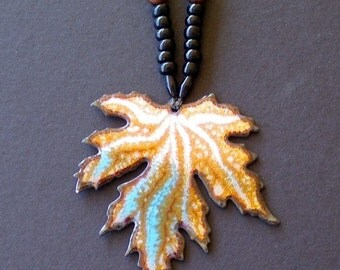 Vintage Copper Necklace Maple Leaf Enamel & Wooden Beads