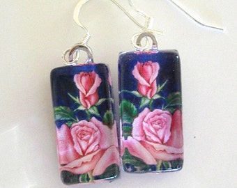 Rose Jewelry Earrings Pink Roses on Navy Art Glass