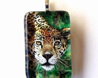 Jaguar Cat Jewelry School Team Mascot Art Glass Pendant Colored PEncil art by AllKindsofArt