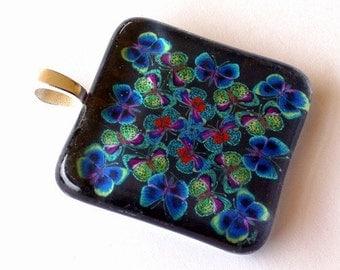 South American Butterflies Jewelry Kaleidoscope Square Art Glass Pendant