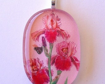 Pink and Maroon Iris Jewelry Oval Art Glass Pendant