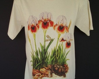 Iris Flower Plus Size T-shirt Arilbred and Tortoise Art Size XL