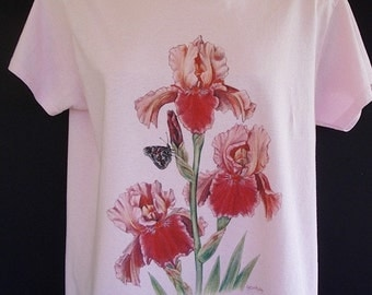 Iris Flower T shirt Pink with Butterfly Size Small
