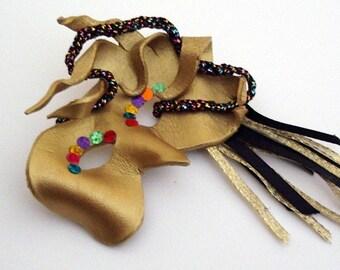 Mask Jewelry Brooch Gold Leather Mardi Gras Pin
