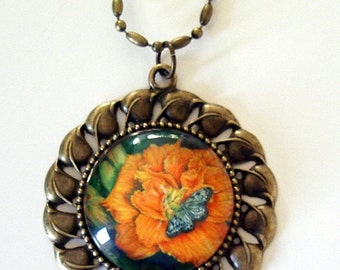 Orange Daylily and Butterfly Art Antique Gold Color Necklace
